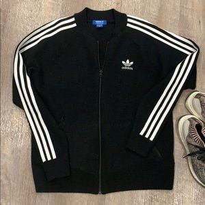 Classic black adidas stripe winter track jacket